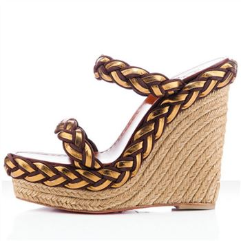 Christian Louboutin Cadena Tresse 140mm Wedges Brown