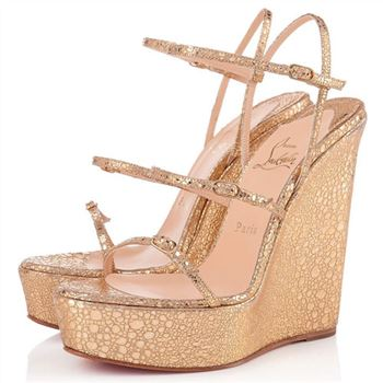 Christian Louboutin 123 Zeppa 140mm Wedges Gold