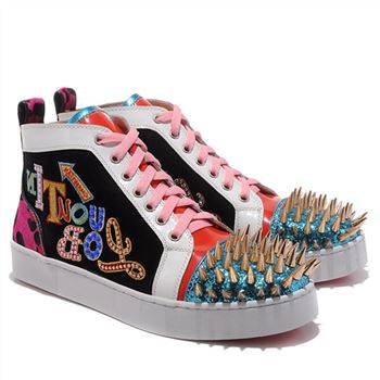 Christian Louboutin Louis Gold Spikes Sneakers Multicolor