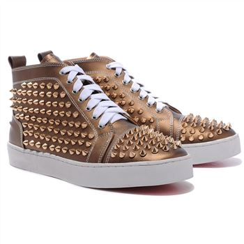 Christian Louboutin Louis Gold Spikes Sneakers Bronze
