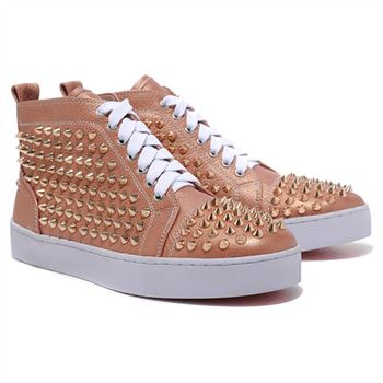Christian Louboutin Louis Gold Spikes Sneakers Taupe