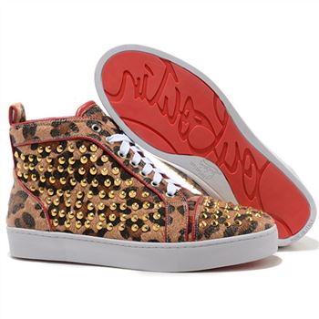 Christian Louboutin Louis Gold Spikes Sneakers Leopard