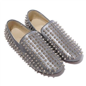 Christian Louboutin Rollerboy Silver Spikes Loafers Grey