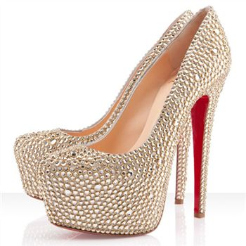 Christian Louboutin Daffodile Strass 160mm Platforms Gold