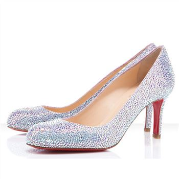 Christian Louboutin Fifi Strass 100mm Special Occasion Silver