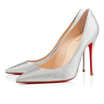 Christian Louboutin Decollete 554 100mm Special Occasion Silver