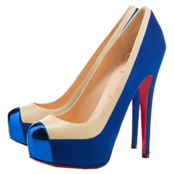Christian Louboutin Mago Two Tone 140mm Pumps Blue