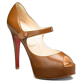 Christian Louboutin No Barre 140mm Mary Jane Pumps Brown