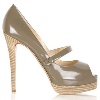 Christian Louboutin No Barre 140mm Mary Jane Pumps Grey